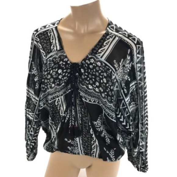c46ca3a9191af0 Free People Tops | Women Black White Long Sleeve Blouse | Poshmark